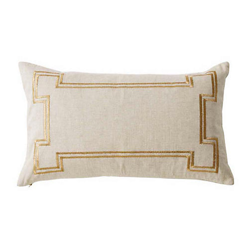 Aria 14x22 Linen Pillow, Sand/Gold