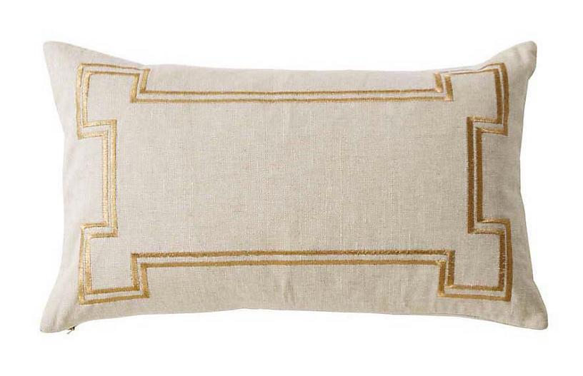 Aria 14x22 Linen Pillow, Sand/Gold