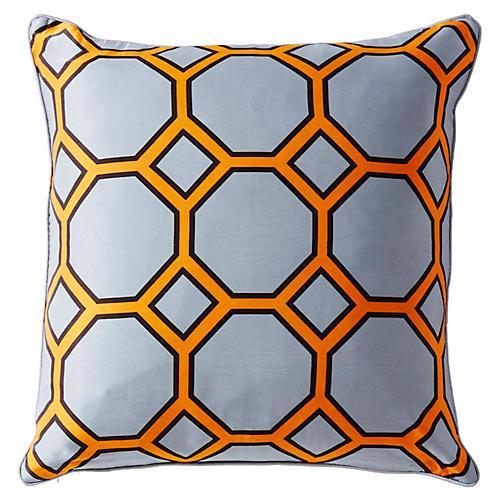 Onslow 20x20 Silk Pillow, Gray