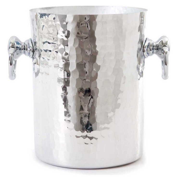"8"" Hammered Wine Bucket, Silver"