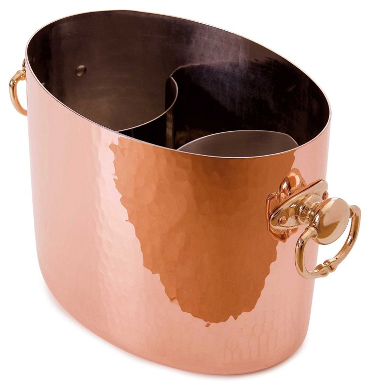 Hammered Oval Champagne Bucket, Copper