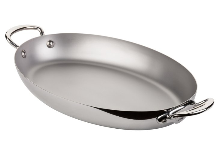 """Stainless Steel Oval Pan, 13.8"""""""