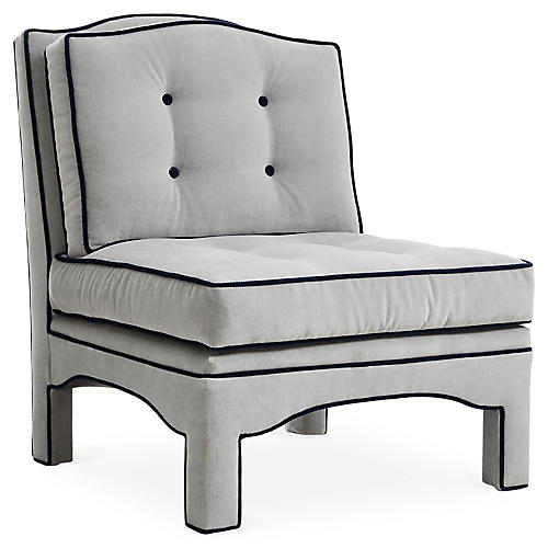 Julien Tufted Slipper Chair, Gray Velvet