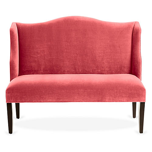 Chelsea Camelback Banquette, Flamingo Velvet
