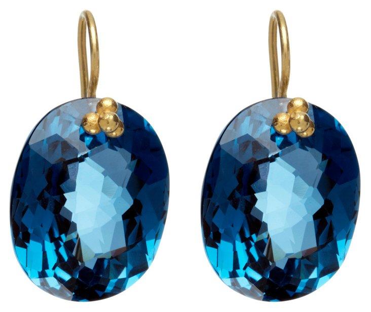 14K Yellow Gold & London Topaz Earrings