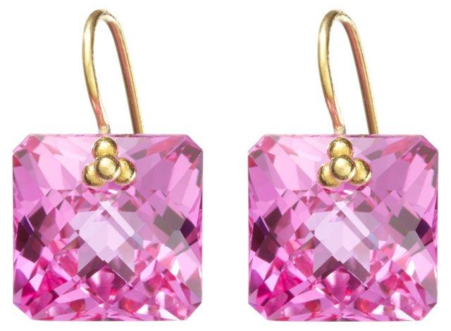 14K Yellow Gold & Pink Topaz Earrings