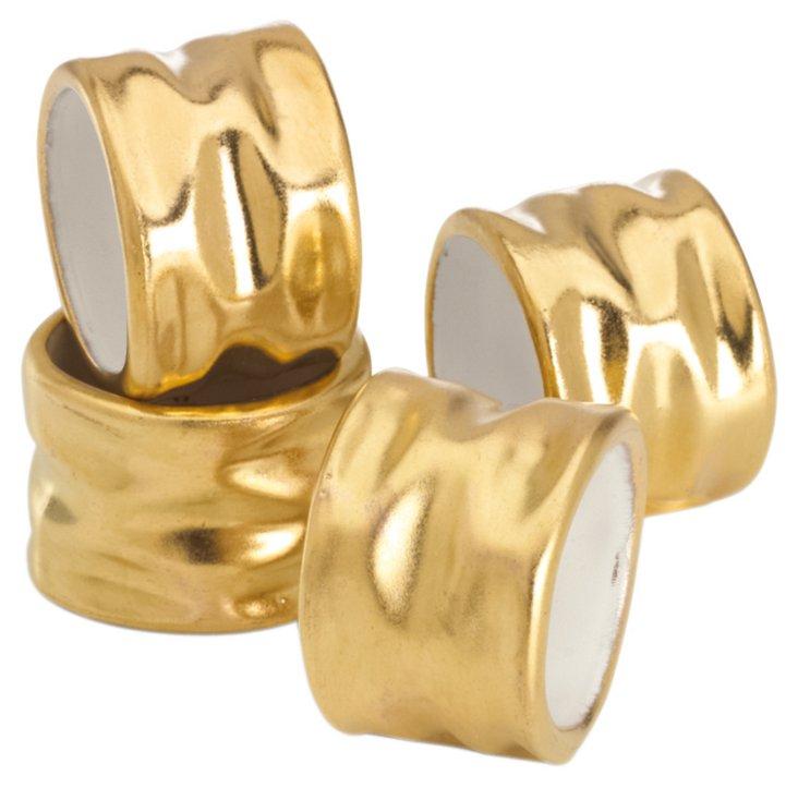 S/4 Truro Napkin Rings, Gold