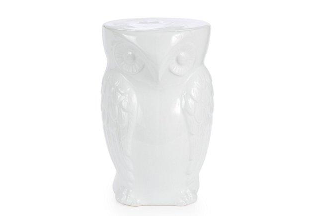 Owl Ceramic Stool, White