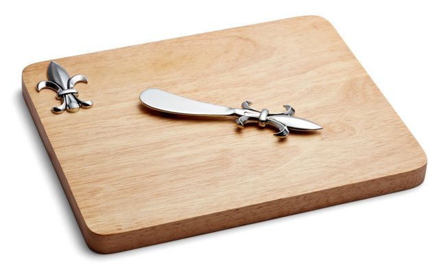 Fleur-de-lis Cheese Board and Knife