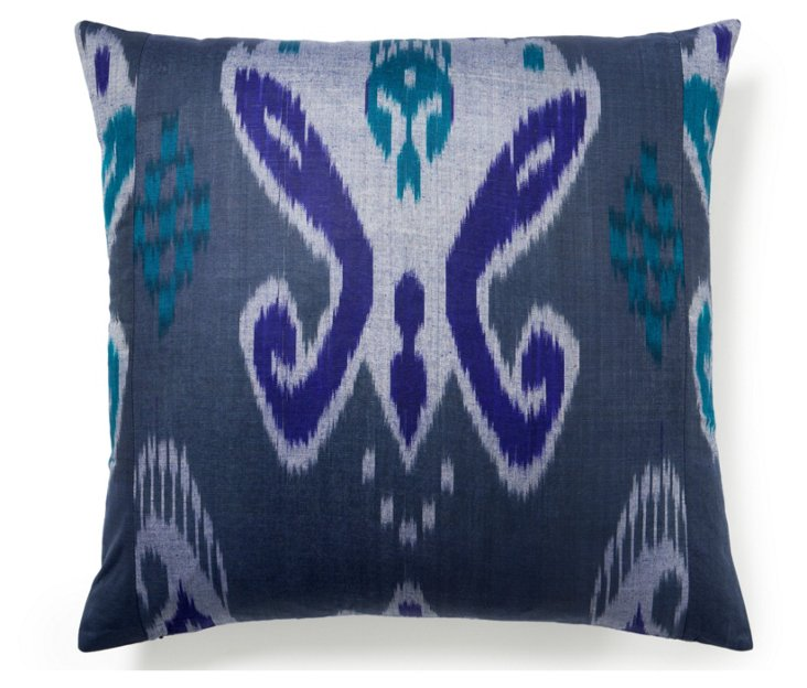 Ikat 20x20 Silk Pillow, Gray/Blue