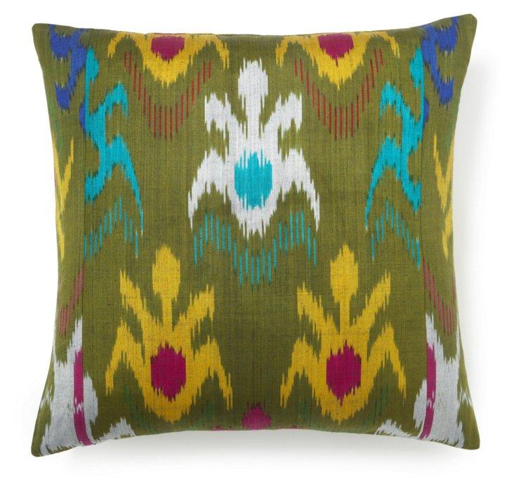 Wilderness 20x20 Silk Pillow, Green