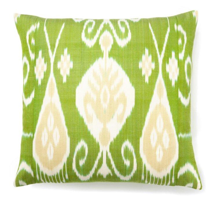Ikat 20x20 Silk Pillow, Green