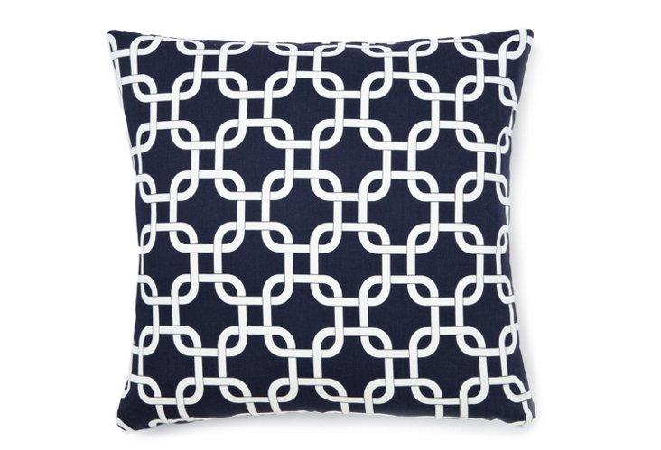 Lattice 18x18 Pillow, Navy