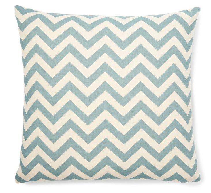 Chevron 18x18 Cotton Pillow, Light Blue
