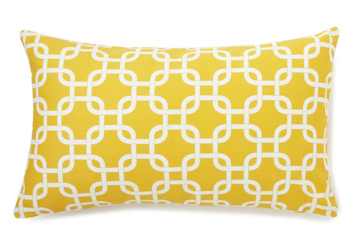 Lattice 14x24 Pillow, Yellow