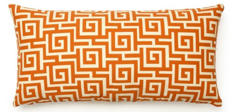 Greek Key 11x24 Outdoor Pillow, Orange