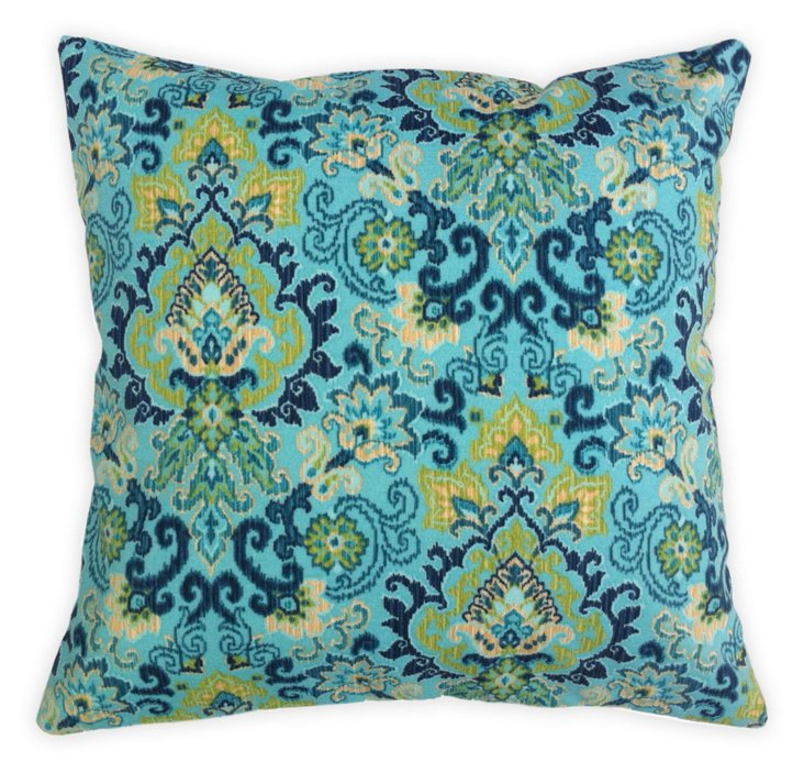 Damask 18x18 Outdoor Pillow, Blue