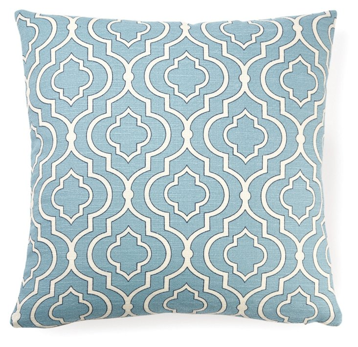 Lattice 18x18 Cotton Pillow, Blue
