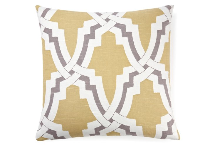 Morocco 18x18 Cotton Pillow, Yellow