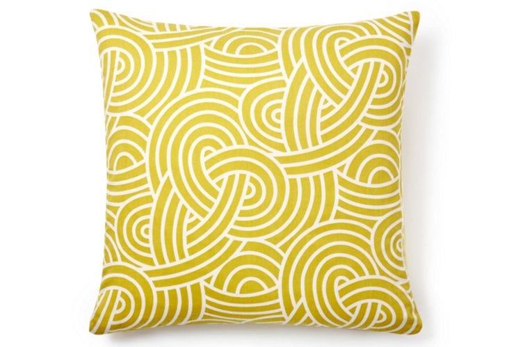 Knotted 18x18 Cotton Pillow, Yellow