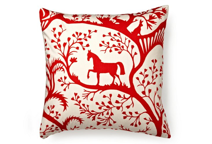 Enchanted Forest 18x18 Pillow, Red