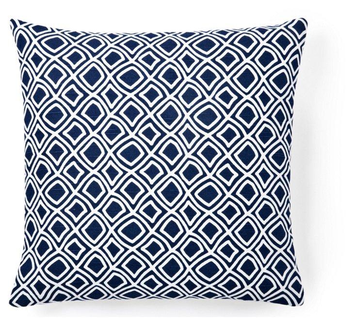Dynamic 18x18 Cotton Pillow, Blue