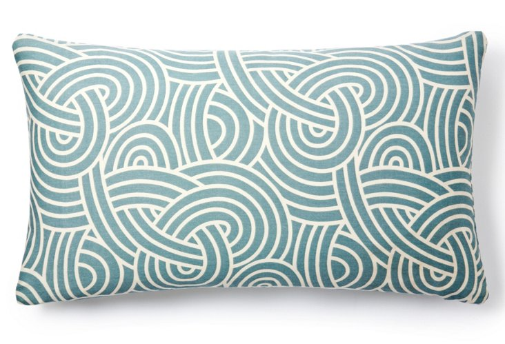 Knotted 14x24 Cotton Pillow, Blue