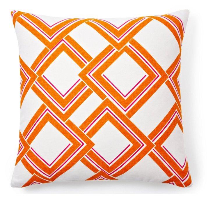 Rhombus 18x18 Cotton Pillow, Orange