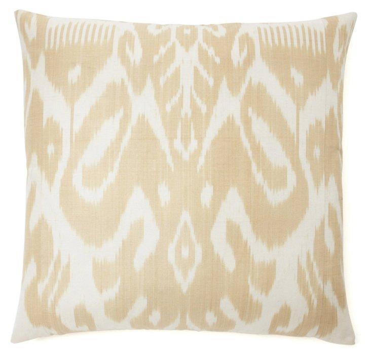 Ikat 20x20 Silk-Blended Pillow, Beige