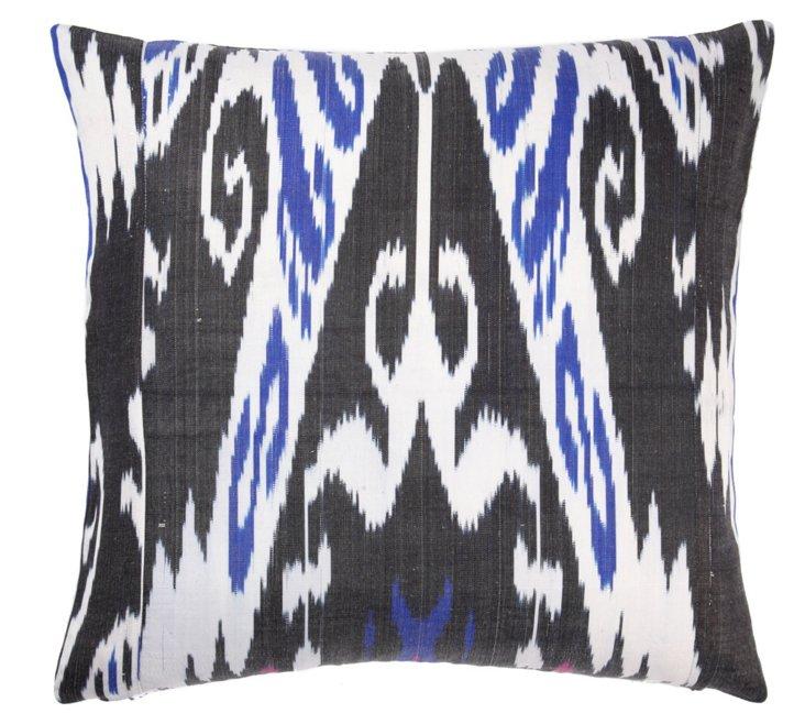 Tribal 20x20 Silk-Blend Pillow, Black