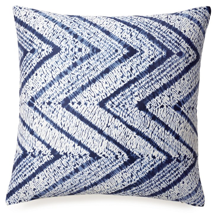 hevron 18x18 Cotton Pillow, Blue