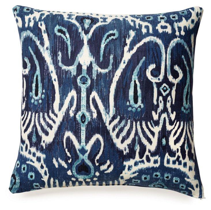 Tribal 18x18 Cotton Pillow, Blue