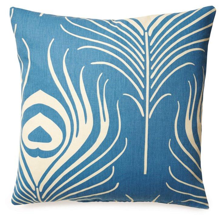 Peacock 18x18 Cotton Pillow, Blue