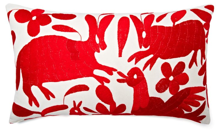 Wildlife 14x24 Embroidered Pillow, Red