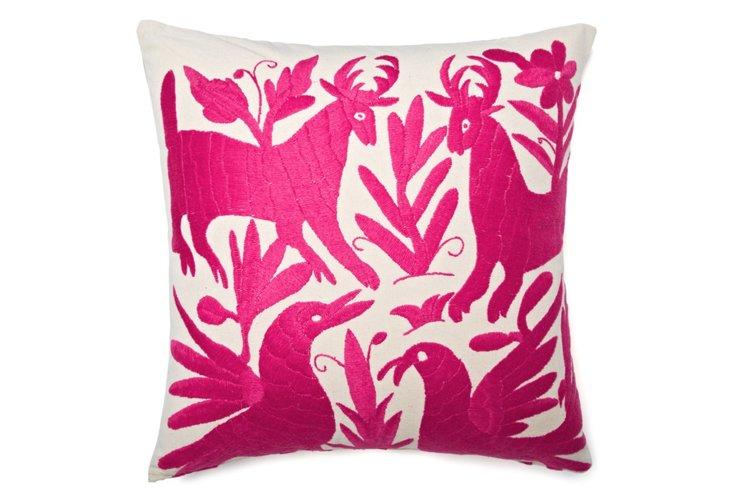 Wildlife 18x18 Cotton Pillow, Pink