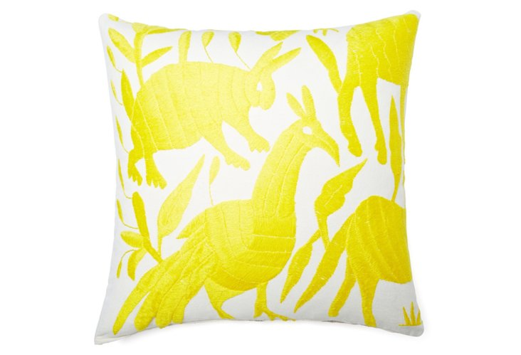 Wildlife 18x18 Cotton Pillow, Yellow