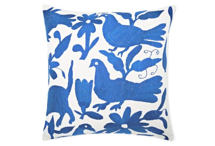 Wild 18x18 Embroidered Pillow, Lt Blue