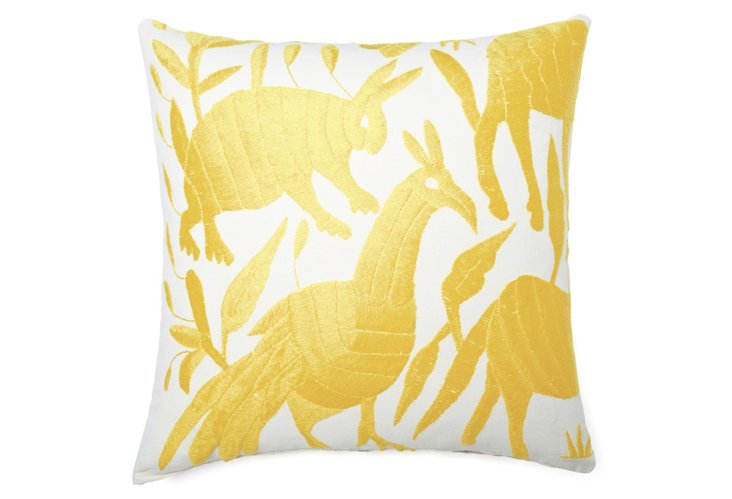 Wildlife 18x18 Embroidered Pillow, Gold