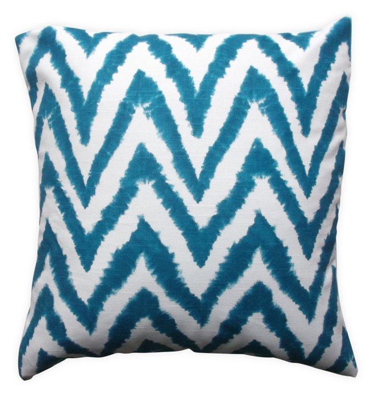 Dye Chevron 18x18 Cotton Pillow, Teal