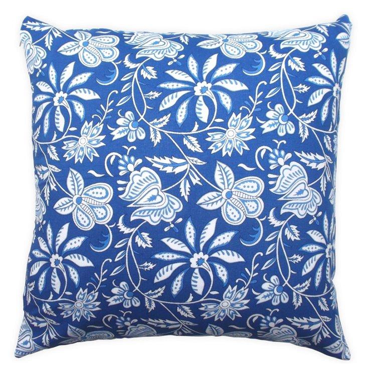 Block Floral 18x18 Cotton Pillow, Cobalt