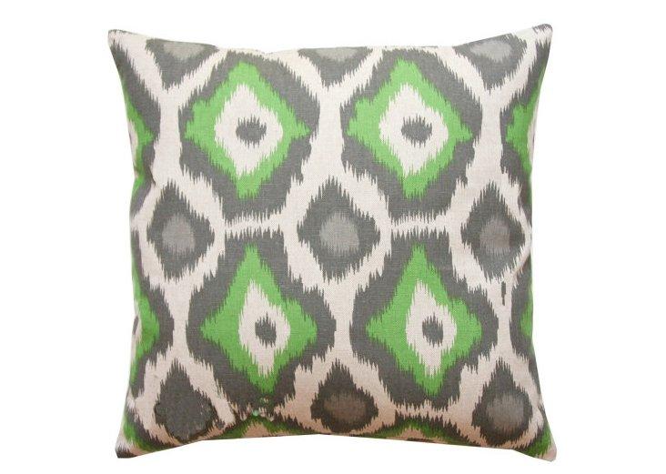 Ikat 18x18 Cotton Pillow, Green/Gray