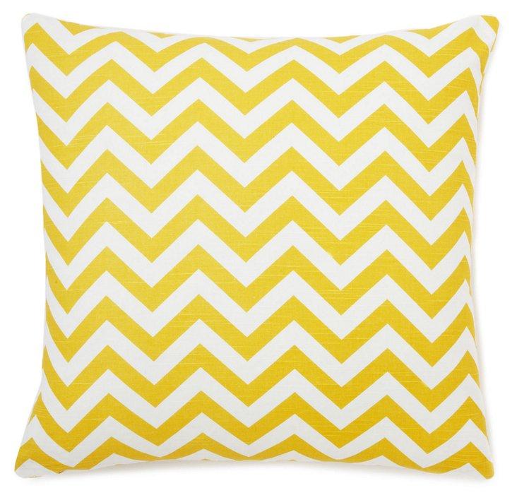 Chevron 18x18 Cotton Pillow, Yellow