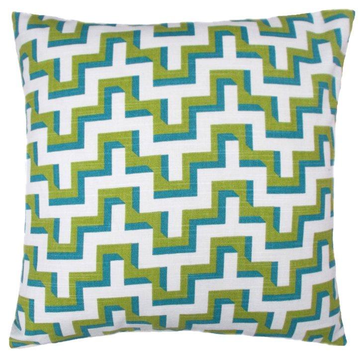 Ava 18x18 Cotton Pillow, Green
