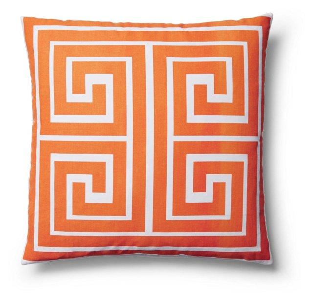 Maze 18x18 Cotton Pillow, Orange
