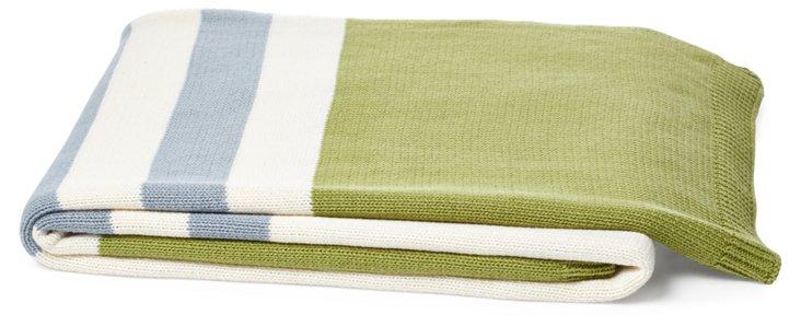 Lausanne Cotton Throw, Green/Blue