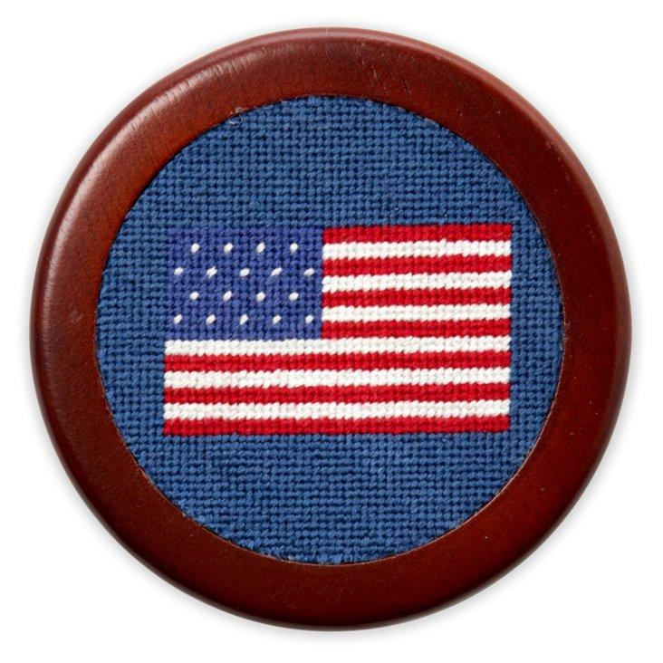 S/5 American Flag Needlepoint Coasters