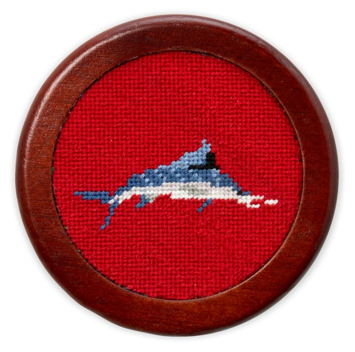 S/5 Billfish Red Needlepoint Coasters