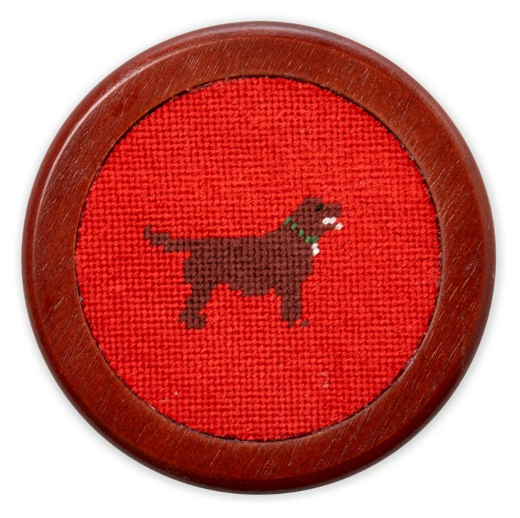 S/4 Labrador Red Needlepoint Coasters