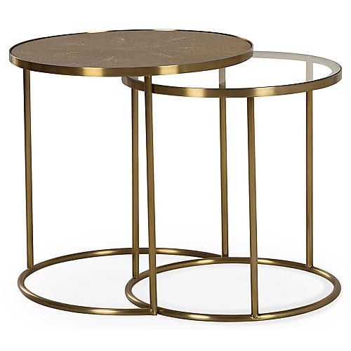 S/2 Ringo Nesting Tables, Brass