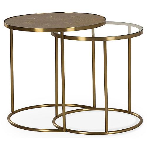 S/2 Ringo Nesting Tables, Brass